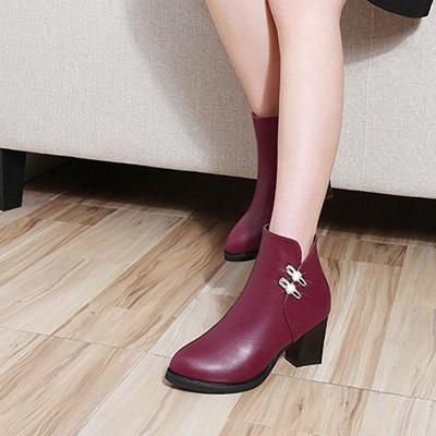 Chunky Heel Rhinestone Daily Pointed Toe Zipper Elegant Boots On Sale_9