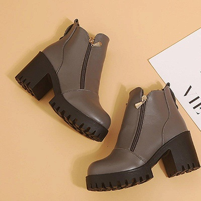 Zipper Chunky Heel Daily Round Toe Boots On Sale_9