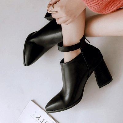 Chunky Heel PU Daily Tie Round Boots On Sale_13