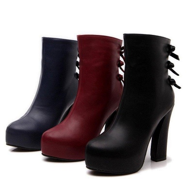 Daily Chunky Heel Zipper Tie Round Toe Boots On Sale_6
