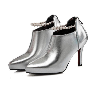 Silver Zipper Daily Elegant Stiletto Heel Pointed Toe Boots On Sale_4