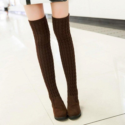 Suede Daily Wedge Heel Round Toe Boot On Sale_5