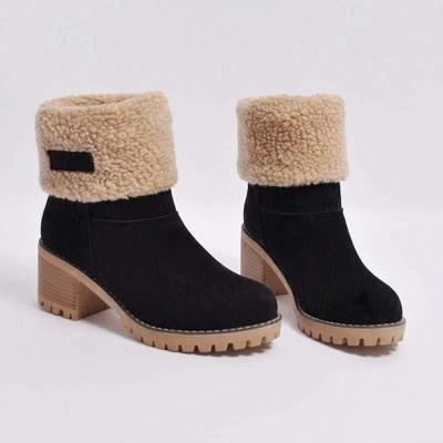 Nubuck Chunky Heel Slip-On Round Toe Boots On Sale_4