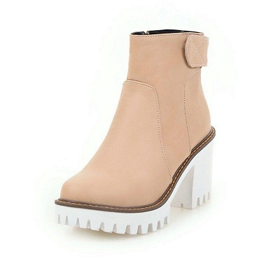 Daily Chunky Heel Zipper Round Boots On Sale_4