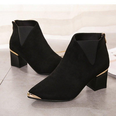 Suede Chunky Heel Pointed Toe Boots On Sale_6