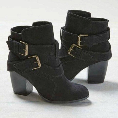 Chunky Heel Daily Buckle Suede Boots On Sale_2