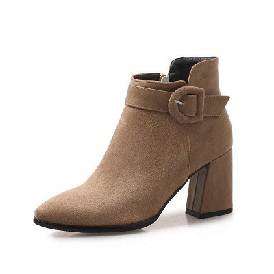 Daily Chunky Heel Suede Round Toe Boot On Sale_7