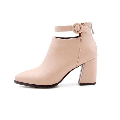 Chunky Heel PU Daily Tie Round Boots On Sale_12