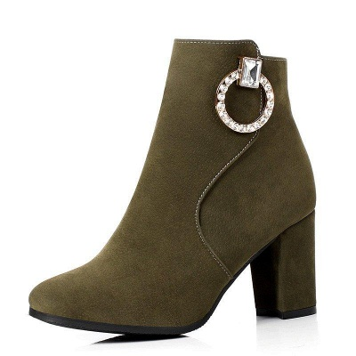Suede Chunky Heel Working Square Boots On Sale_9