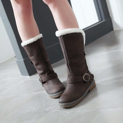 Women's Boots Round Toe Black Low Heel Boots On Sale_5