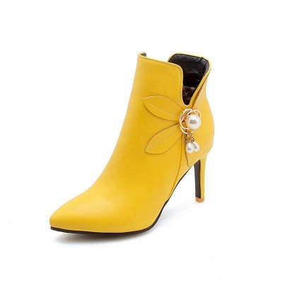 Stiletto Heel Pearl Daily Pointed Toe Elegant Boots On Sale_1