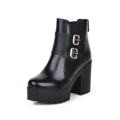 Buckle PU Chunky Heel Round Boots On Sale_4
