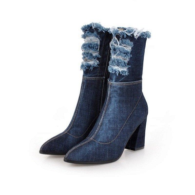 Denim Daily Zipper Chunky Heel Pointed Toe Boots On Sale_2