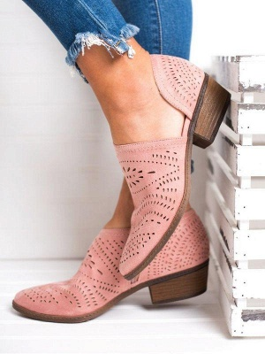 Hollow-out Low Heel Summer Faux Suede Boot On Sale_13