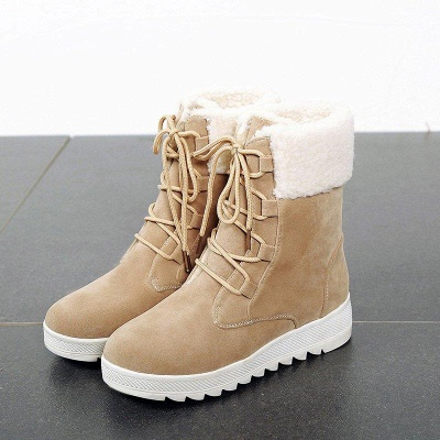 Winter Daily Wedge Heel Lace-up Boots On Sale_6