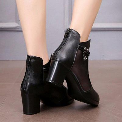 Beading Chunky Heel Round Toe Zipper Boots On Sale_5
