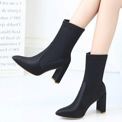 Daily Chunky Heel Zipper Pointed Toe PU Boots On Sale_6