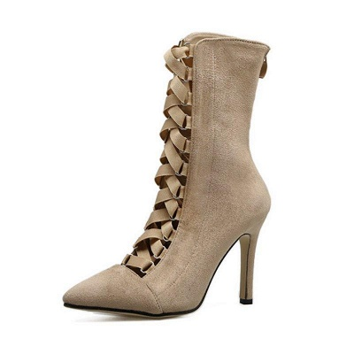 Lace-up Stiletto Heel Daily Elegant Pointed Boots On Sale_3