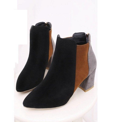 Zipper Daily Chunky Heel Pointed Toe Suede Boots On Sale_5