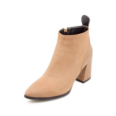 Chunky Heel Suede Elegant Round Boots On Sale_6