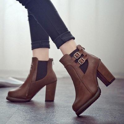 PU Buckle Round Toe Chunky Boots On Sale_1