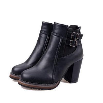 PU Buckle Round Toe Chunky Boots On Sale_4
