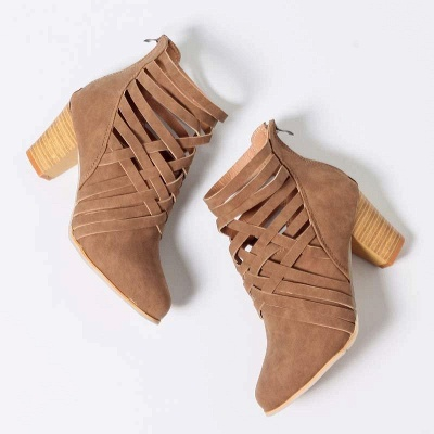 Zipper Pointed Toe Chunky Boots On Sale_10