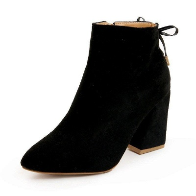Chunky Heel Daily Lace-up Pointed Toe Zipper Boots On Sale_8