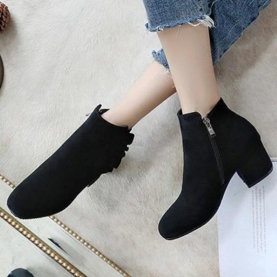 Chunky Heel Zipper Elegant Round Boots On Sale_6