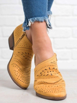 Hollow-out Low Heel Summer Faux Suede Boot On Sale_8