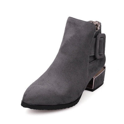 Chunky Heel Suede Button Boots On Sale_3