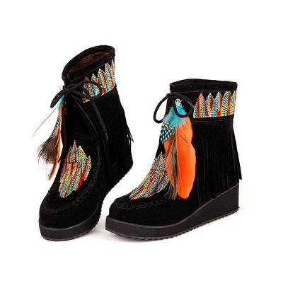 Tassel Wedge Heel Daily Round Toe Casual Boots On Sale_3