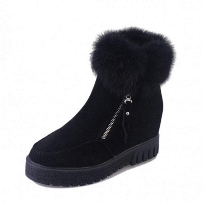Zipper Fall Suede Chunky Heel Round Boots On Sale_9