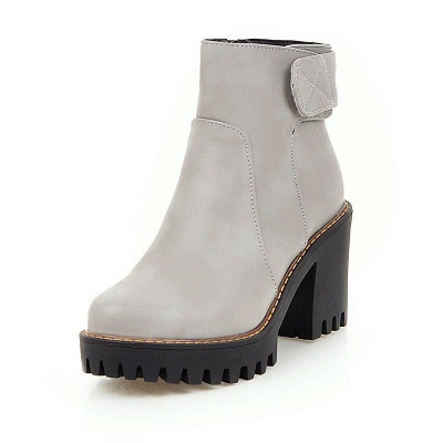 Daily Chunky Heel Zipper Round Boots On Sale_3