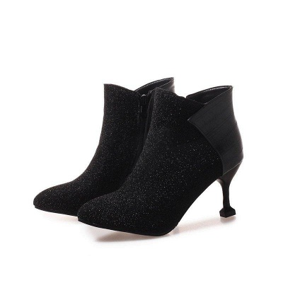 Zipper Date Cone Heel Pointed Toe Sequin Boots On Sale_1