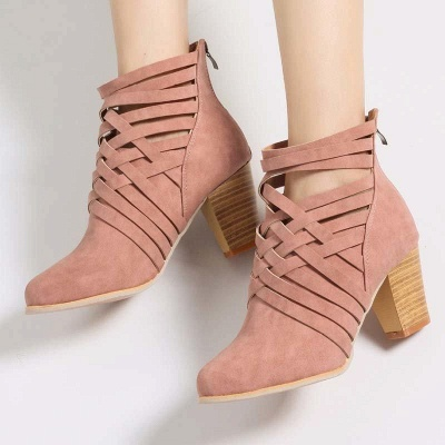 Zipper Pointed Toe Chunky Boots On Sale_3