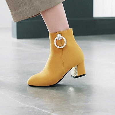 Zipper Daily Chunky Heel Pointed Toe Elegant Boots On Sale_6