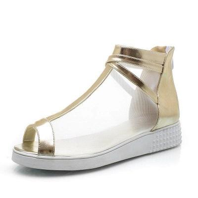 Zipper Daily Peep Toe Wedge Heel Elegant Boots On Sale_5