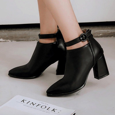 Chunky Heel PU Daily Tie Round Boots On Sale_1