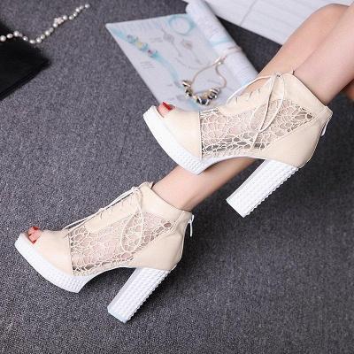 Chunky Heel Lace-up Peep Toe Boots On Sale_5