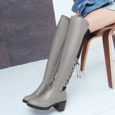 Lace-up Dress Round Toe Elegant Chunky Heel Boots On Sale_2