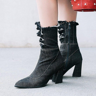 Women's Boots Dark Blue Pointed Toe Chunky Heel Boots On Sale_4