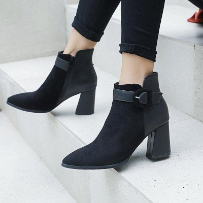 Daily Chunky Heel Suede Round Toe Boot On Sale_4