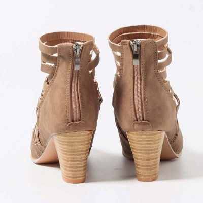 Zipper Pointed Toe Chunky Boots On Sale_4