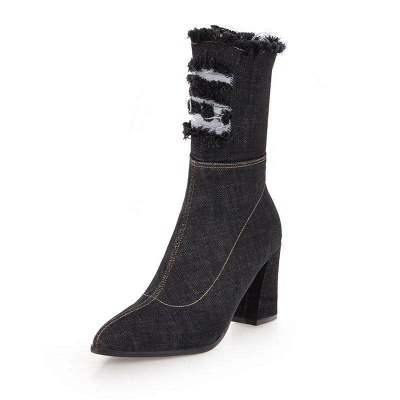 Women's Boots Dark Blue Pointed Toe Chunky Heel Boots On Sale_8