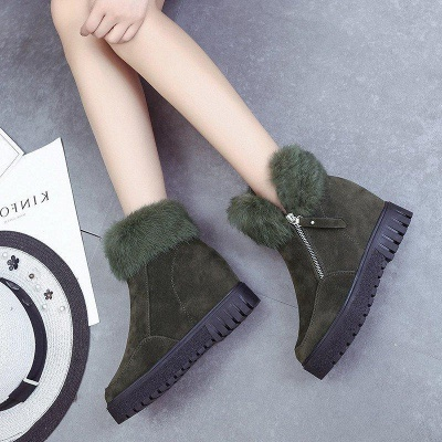 Zipper Fall Suede Chunky Heel Round Boots On Sale_6