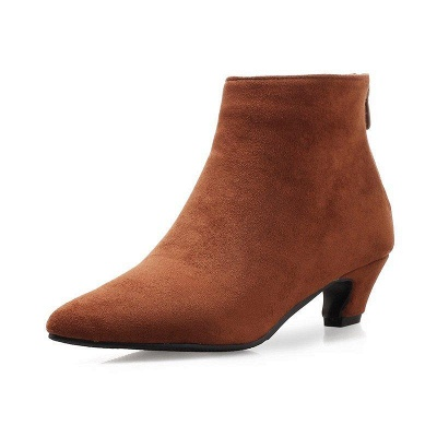 Chunky Heel Zipper Daily Pointed Toe Elegant Boots On Sale_4