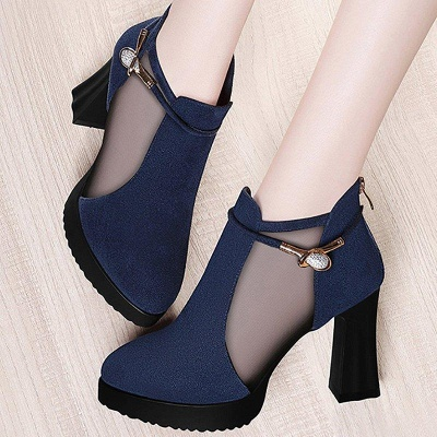 Daily Chunky Heel Buckle Pointed Toe Elegant Boots On Sale_3