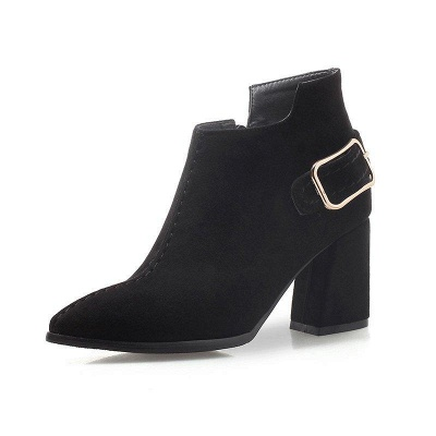 Daily Chunky Heel Suede Elegant Round Toe Boots On Sale_4