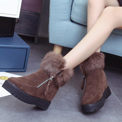 Zipper Fall Suede Chunky Heel Round Boots On Sale_2